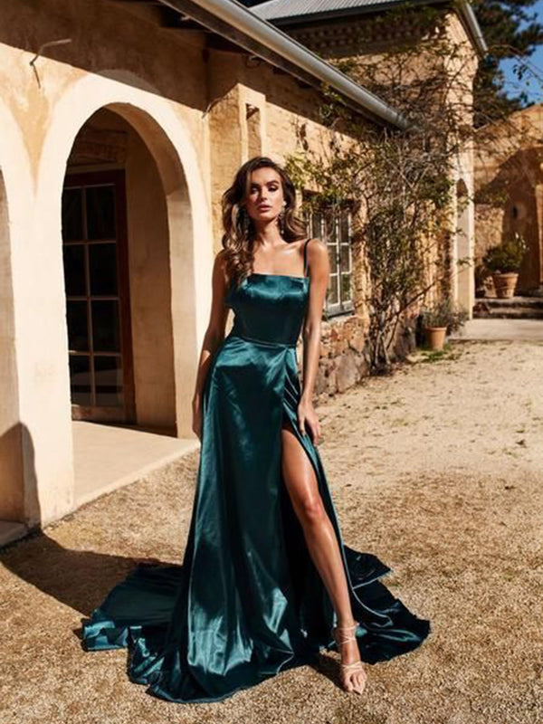 Spaghetti Straps Split-Front Sheath/Column Sleeveless Evening Dress