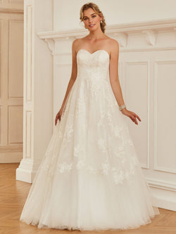 Sweetheart Appliques Ball Gown Sleeveless Church Wedding Dress