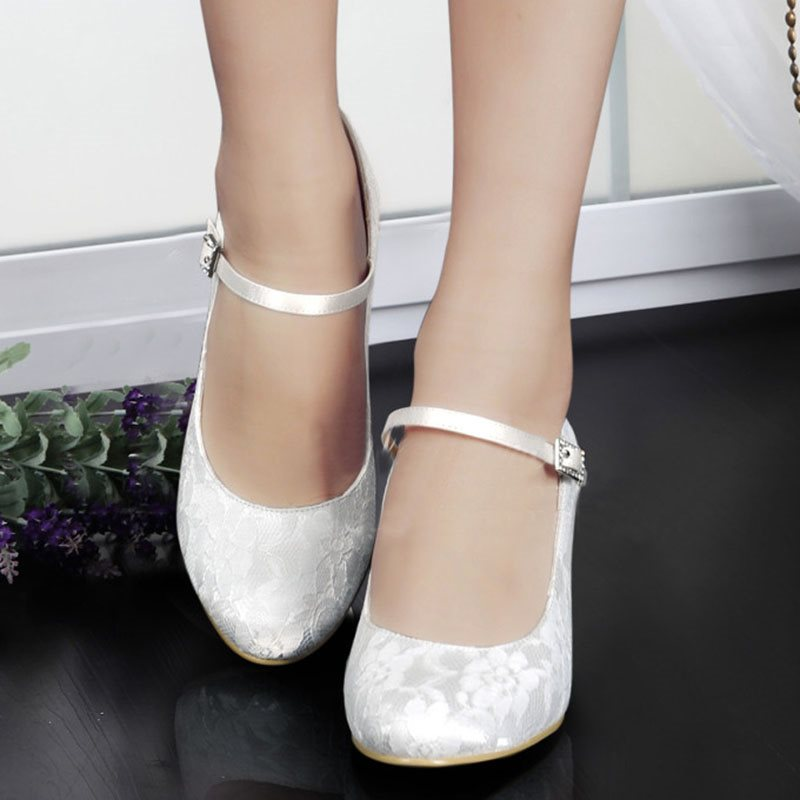 Buckle Round Toe Stiletto Heel Wedding Low-Cut Upper Thin Shoes