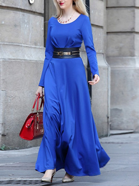 Long Sleeve Round Neck Ankle-Length Fall High-Waist Dresses