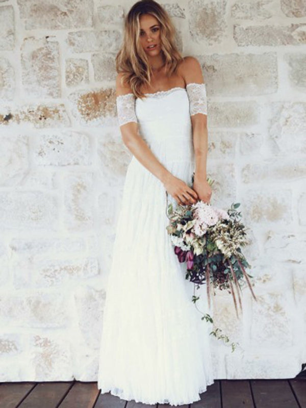 Short Sleeves Off-The-Shoulder Lace Floor-Length Beach Wedding Dress