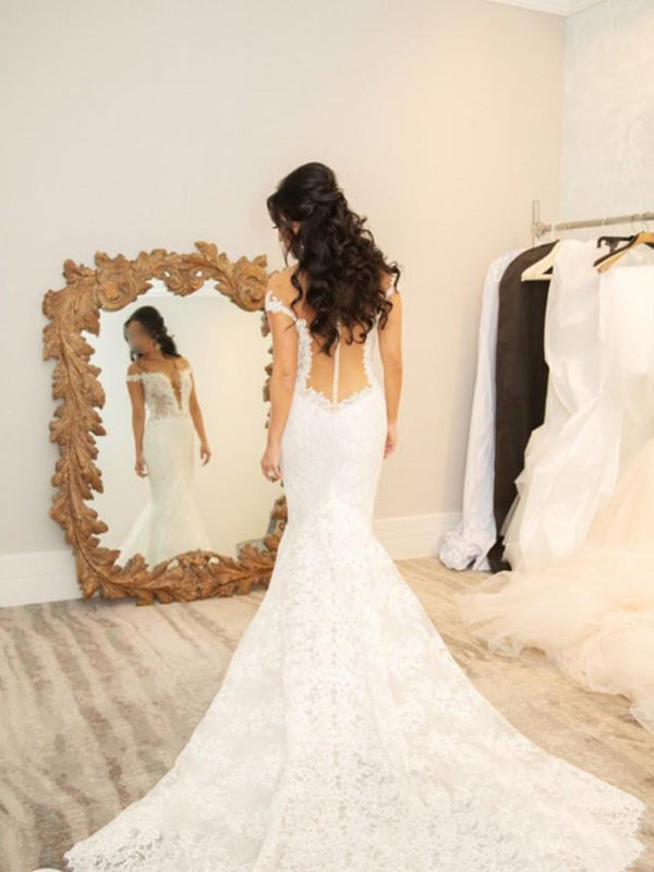 Court Trumpet/Mermaid Floor-Length Off-The-Shoulder Hall Wedding Dress