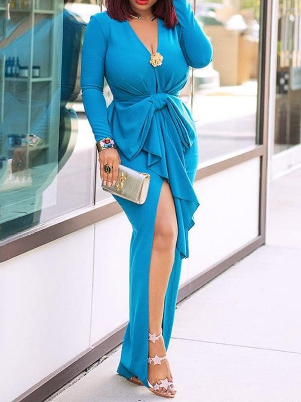 Floor-Length V-Neck Split Pullover Asymmetrical Dress