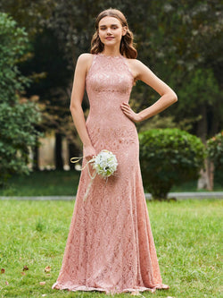 Sheath/Column Floor-Length Scoop Lace Wedding Party Dress