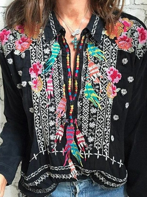 Embroidery Floral Lapel Mid-Length Long Sleeve Blouse