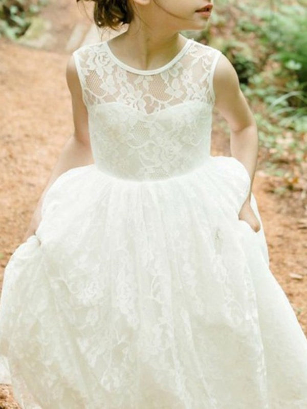 Lace Jewel Floor-Length A-Line Flower Girl Dress