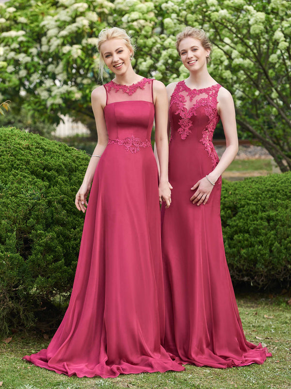 Floor-Length Sweep/Brush Sleeveless Jewel Wedding Party Dress