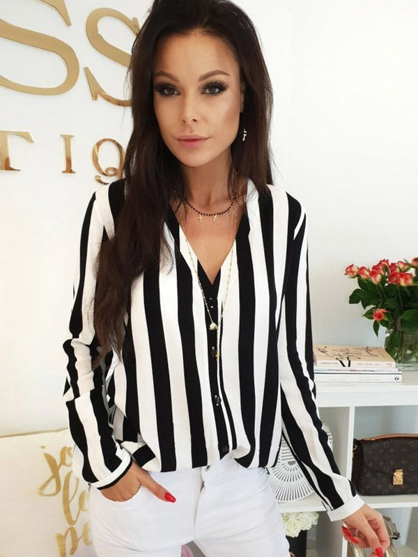 Stripe Regular Button Mid-Length Long Sleeve Blouse
