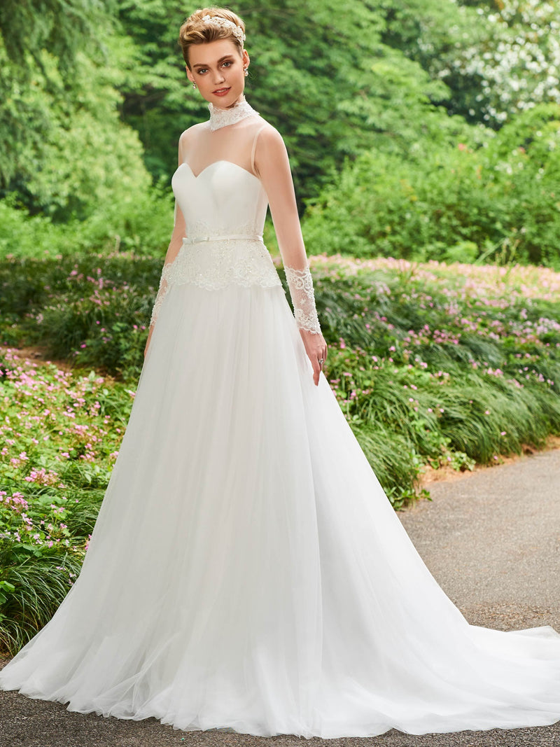 Chapel Ball Gown Long Sleeves Floor-Length Hall Wedding Dress