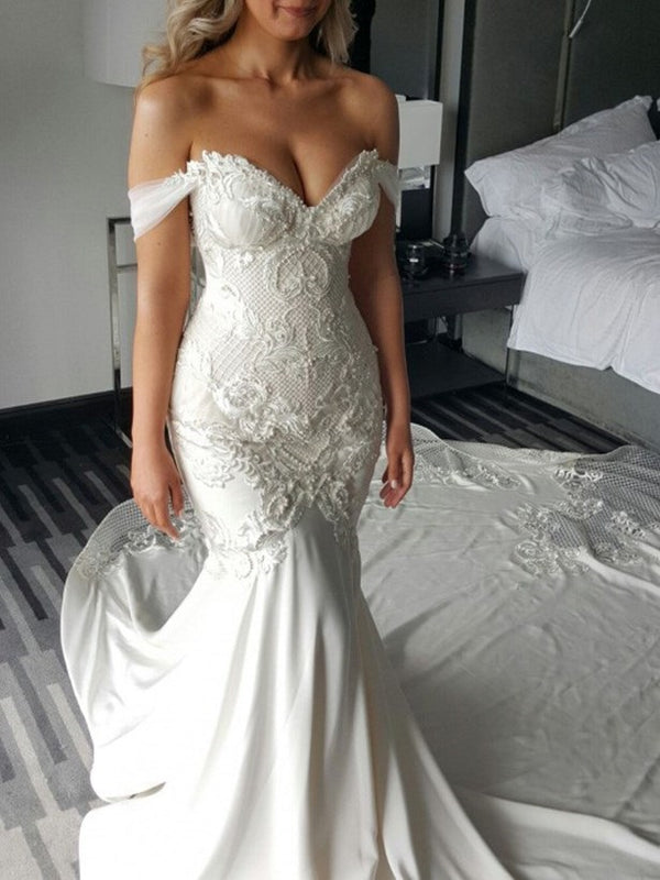 Pearl Floor-Length Cathedral Off-The-Shoulder Church Wedding Dress