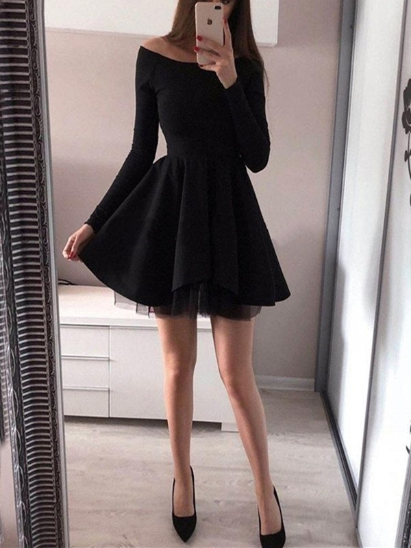 A-Line Long Sleeves Short/Mini Off-The-Shoulder Cocktail Dress