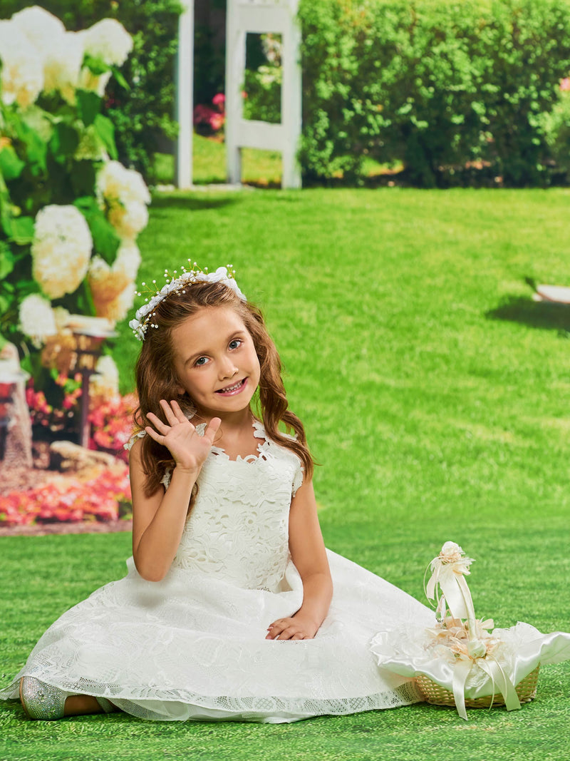 Scoop Tea-Length Sleeveless Fall Flower Girl Dress