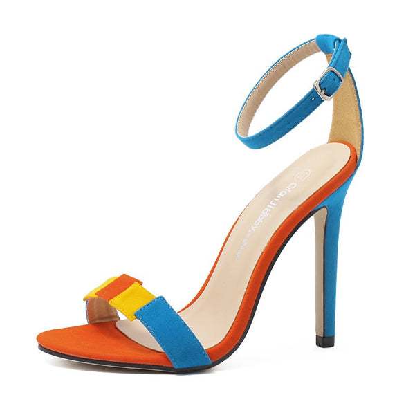 Line-Style Buckle Open Toe Stiletto Heel Heel Covering Low-Cut Upper Color Block Sandals