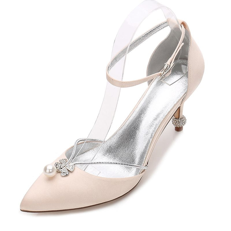 Line-Style Buckle Stiletto Heel Pointed Toe Beads 7.5cm Wedding Thin Shoes