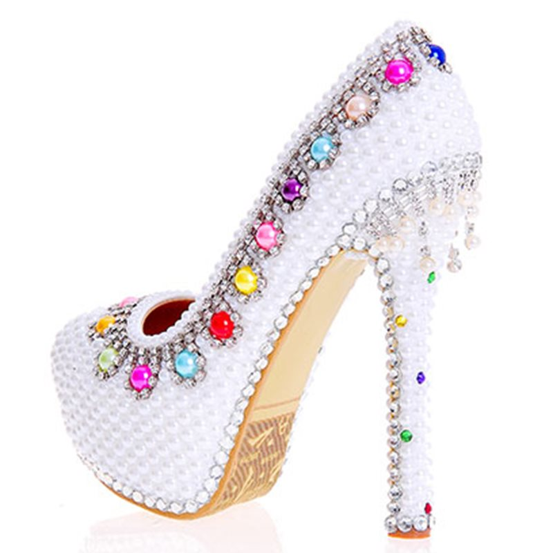 Beads Stiletto Heel Slip-On Round Toe Western Wedding Thin Shoes
