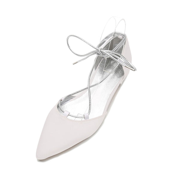 Block Heel Pointed Toe Lace-Up Low-Cut Upper 2cm Thin Shoes