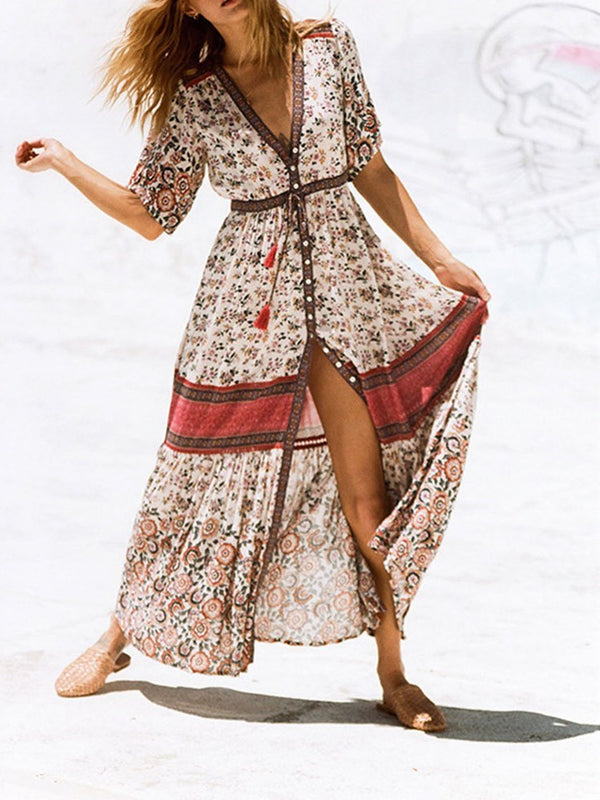 Print Half Sleeve V-Neck Summer Regular Dress