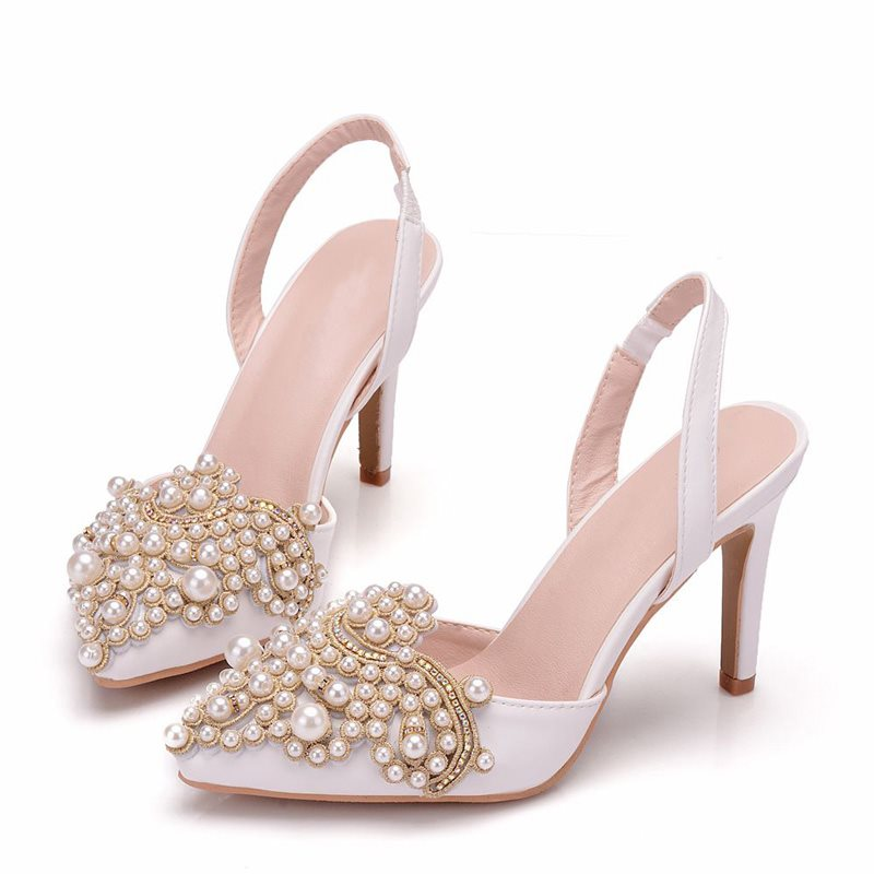 Pointed Toe Slingback Strap Stiletto Heel Slip-On Low-Cut Upper Beads Sandals