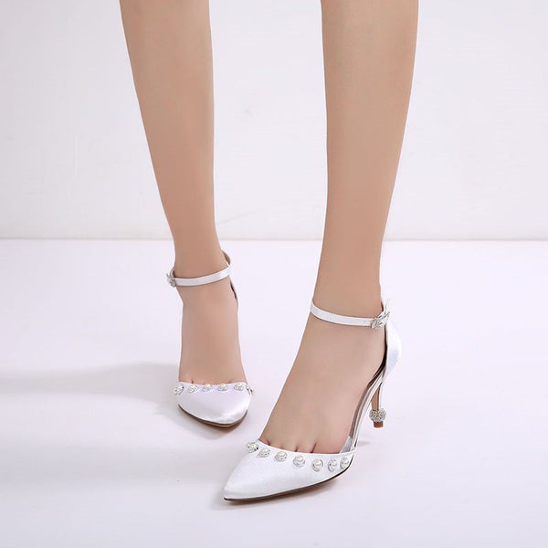 Stiletto Heel Beads Line-Style Buckle Pointed Toe Wedding Plain Thin Shoes