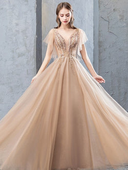 Floor-Length V-Neck Short Sleeves A-Line Evening Dress