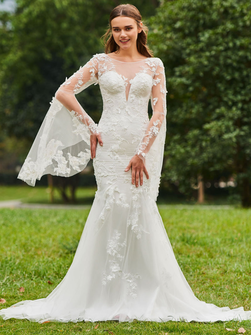 Long Sleeves Trumpet/Mermaid Court Bateau Church Wedding Dress