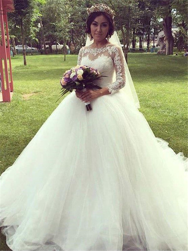 3/4 Length Sleeves Sweep/Brush Appliques Floor-Length Garden/Outdoor Wedding Dress
