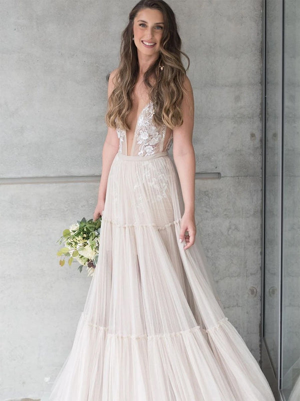 Floor-Length Button A-Line V-Neck Garden/Outdoor Wedding Dress