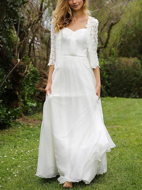 Floor-Length A-Line Lace Sweetheart Beach Wedding Dress