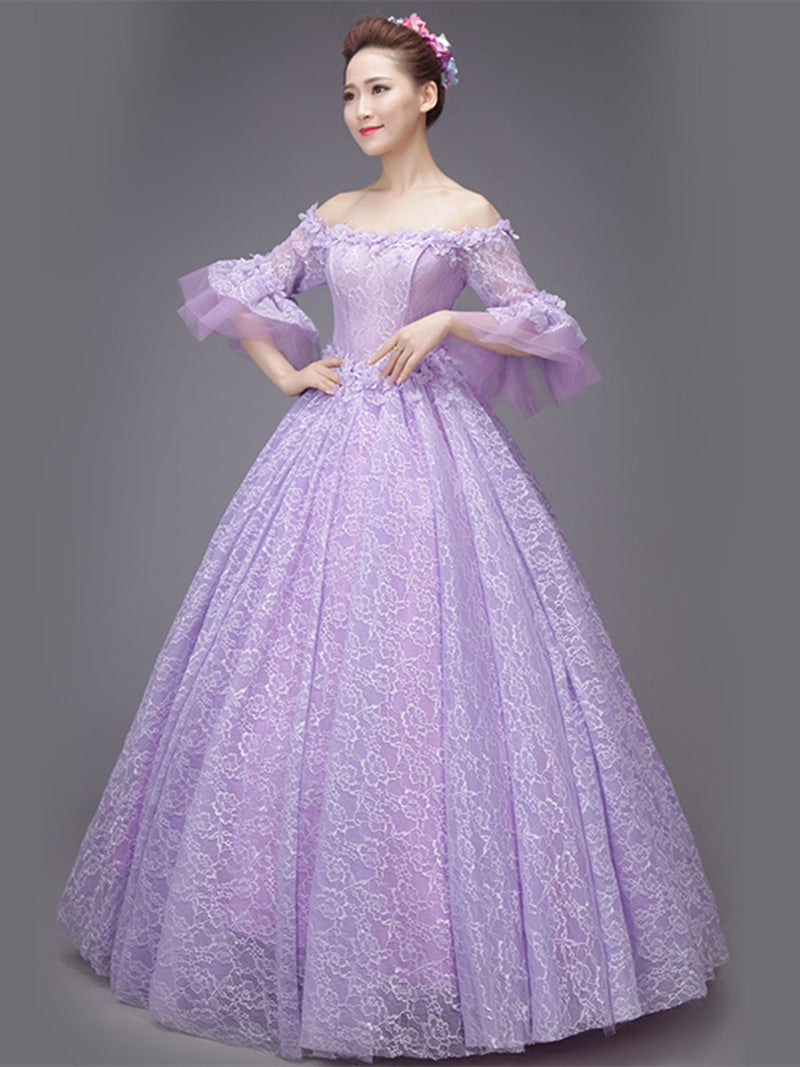 Appliques Off-The-Shoulder Floor-Length 3/4 Length Sleeves Quinceanera Dress