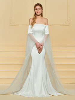 Court Long Sleeves Floor-Length Trumpet/Mermaid Church Wedding Dress