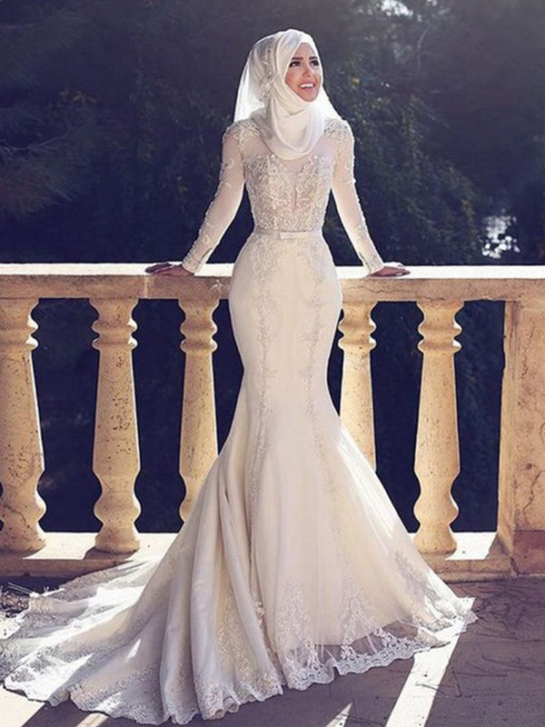 Long Sleeves Court Bowknot Trumpet/Mermaid Church Wedding Dress