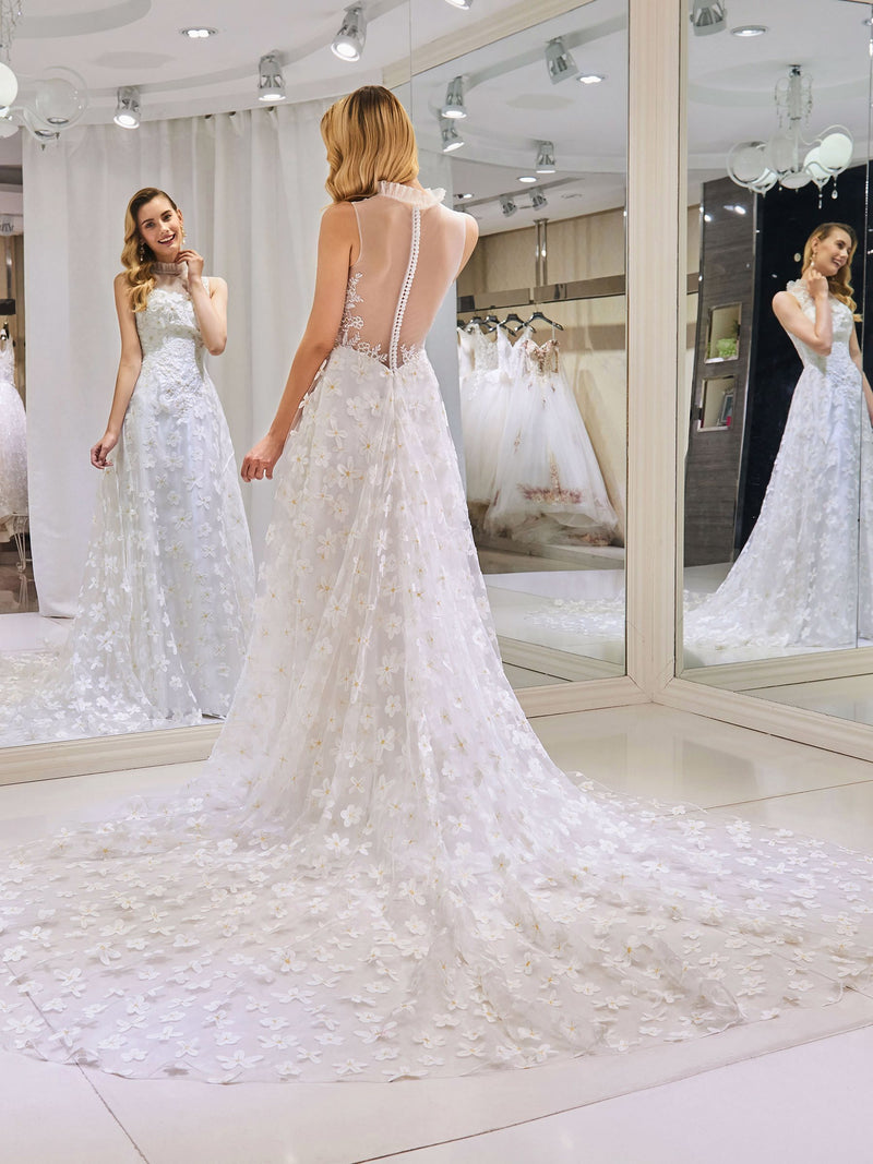 Floor-Length Sleeveless Lace High Neck Church Wedding Dress