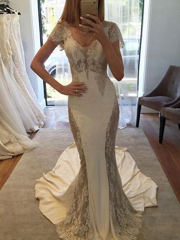 Chapel Trumpet/Mermaid Appliques Floor-Length Hall Wedding Dress