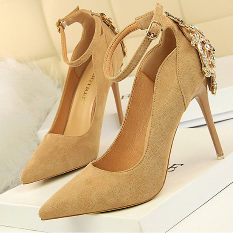 Line-Style Buckle Rhinestone Pointed Toe Stiletto Heel 10.5cm Plain Thin Shoes