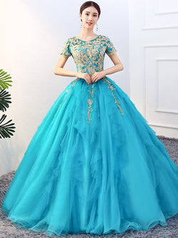 Appliques Scoop Short Sleeves Ball Gown Quinceanera Dress