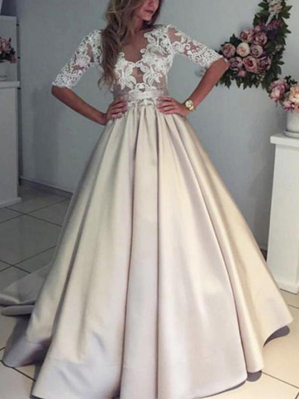 Floor-Length Appliques A-Line Half Sleeves Hall Wedding Dress