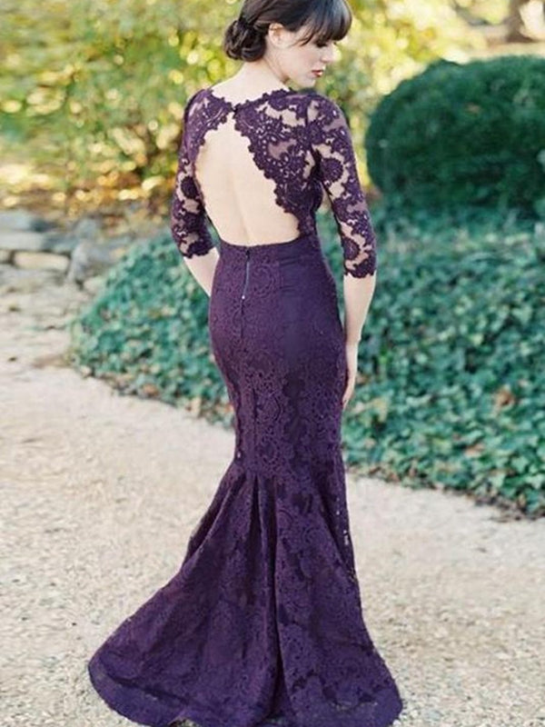 Sleeveless Bateau Lace Trumpet/Mermaid Wedding Party Dress