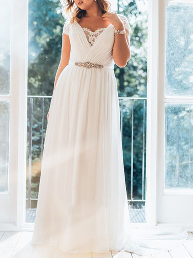 A-Line Cap Sleeves Sweep/Brush Floor-Length Garden/Outdoor Wedding Dress