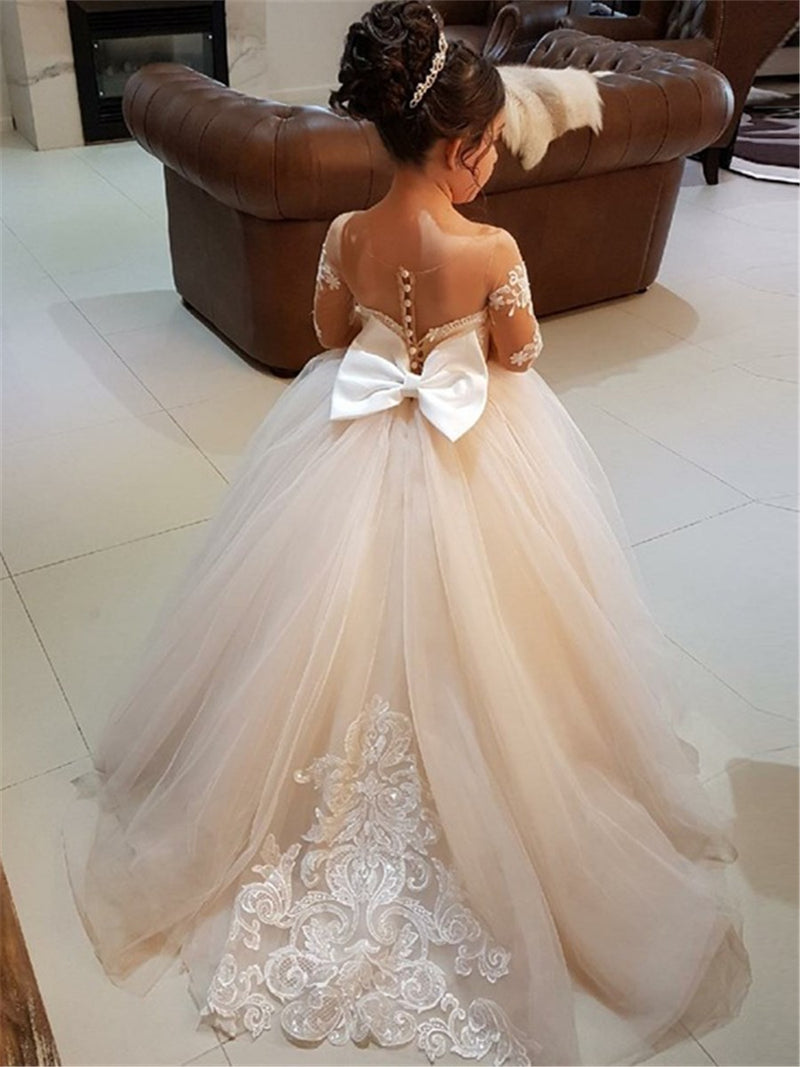 Appliques Ball Gown Floor-Length Long Sleeves Flower Girl Dress