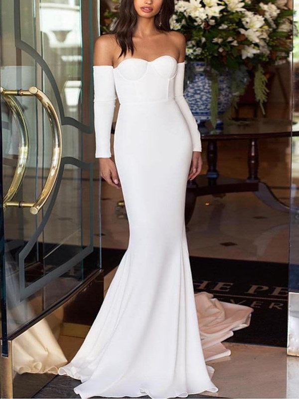 Long Sleeves Floor-Length Trumpet/Mermaid Off-The-Shoulder Evening Dress