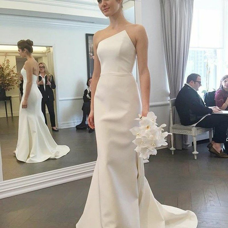 Sleeveless Trumpet/Mermaid Sweep/Brush Floor-Length Church Wedding Dress