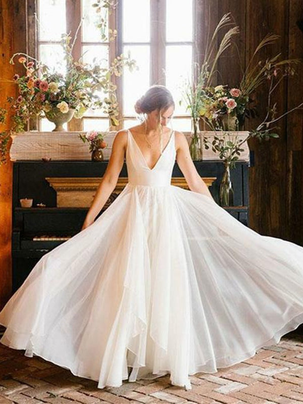 V-Neck A-Line Sleeveless Floor-Length Garden/Outdoor Wedding Dress