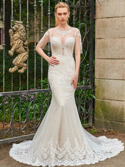 Half Sleeves Trumpet/Mermaid Floor-Length Chapel Garden/Outdoor Wedding Dress