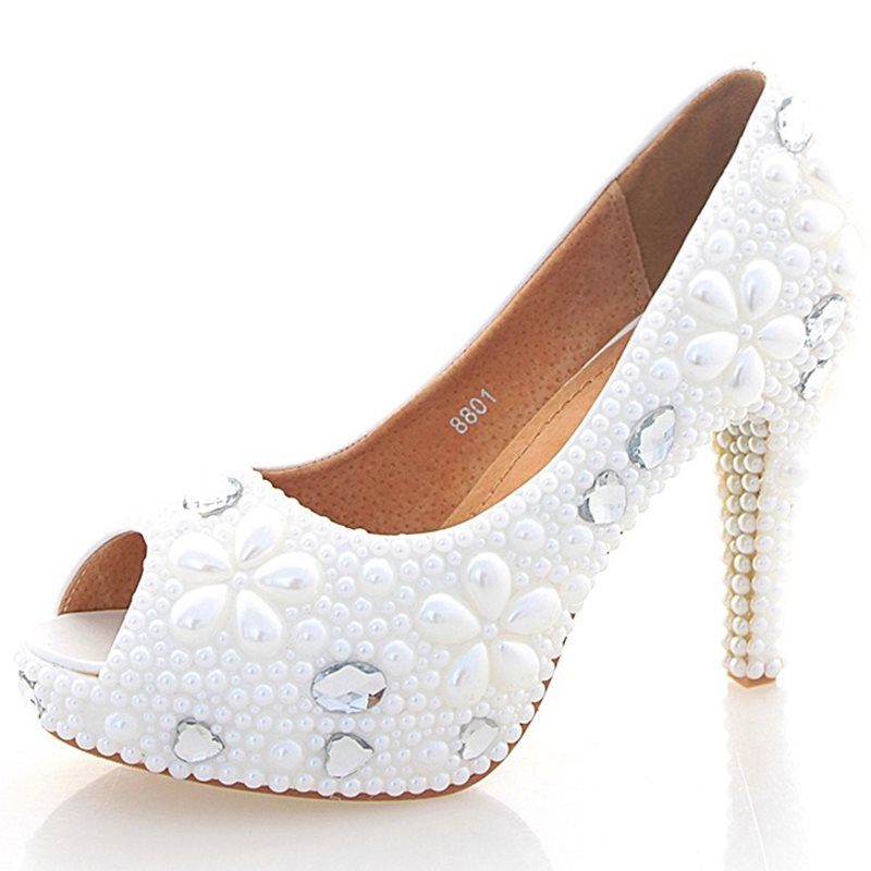 Stiletto Heel Open Toe Beads Slip-On Wedding Low-Cut Upper Thin Shoes