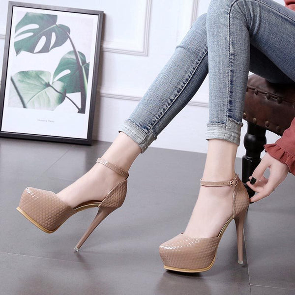 Platform Round Toe Stiletto Heel Line-Style Buckle Plain Low-Cut Upper Thin Shoes