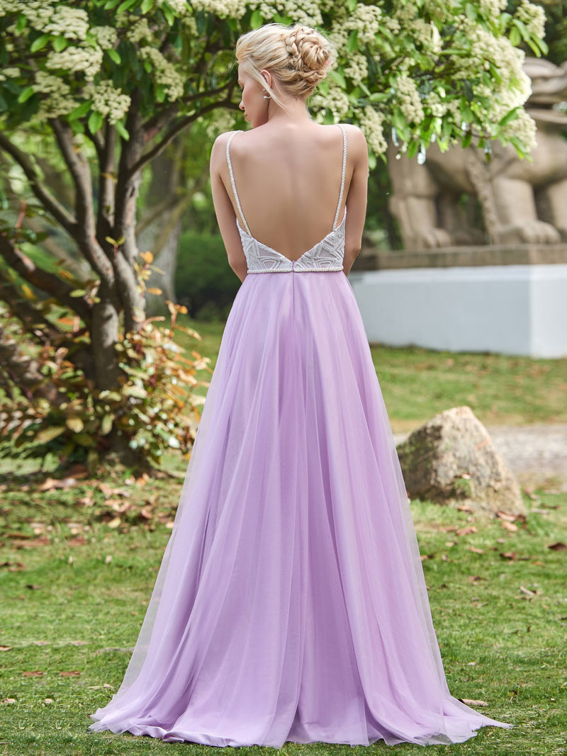 Sleeveless Floor-Length Sequins A-Line Evening Dress