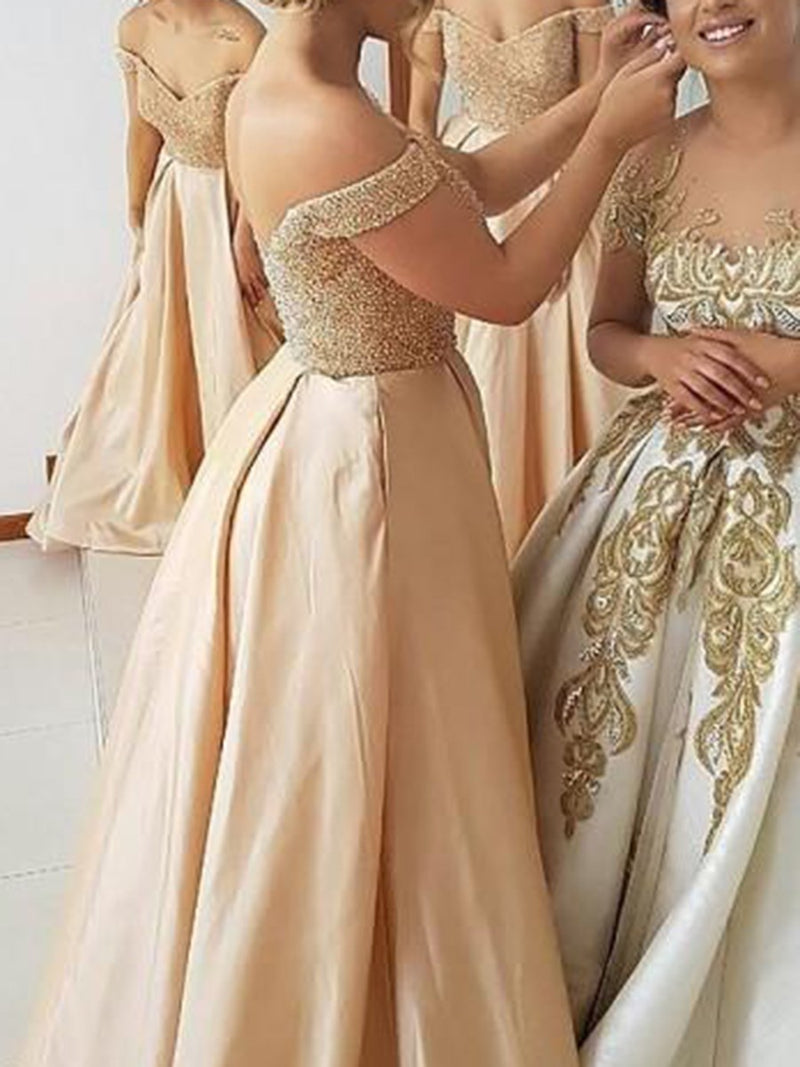 Sleeveless A-Line Off-The-Shoulder Beading Wedding Party Dress
