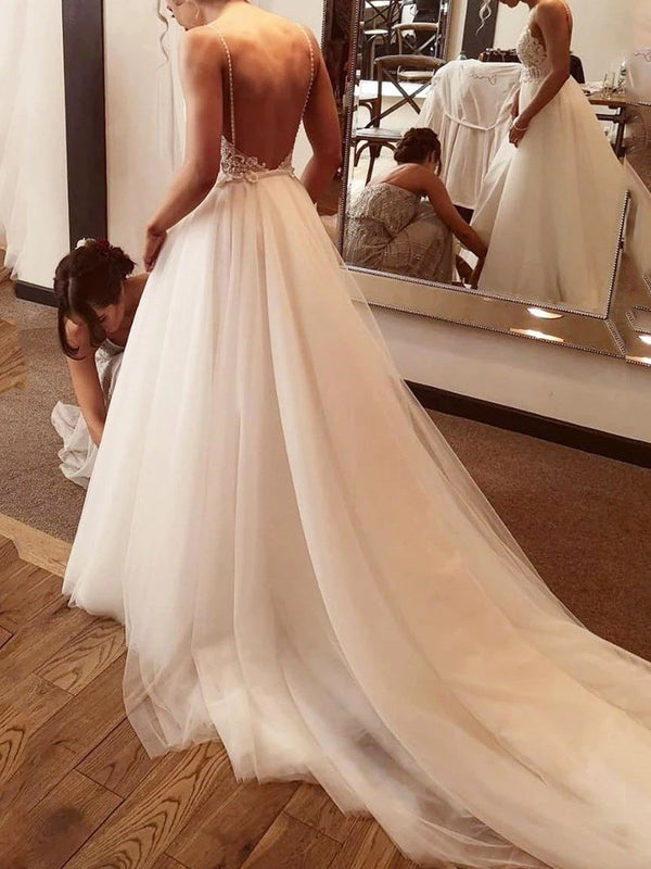 Sleeveless Spaghetti Straps Floor-Length Appliques Beach Wedding Dress