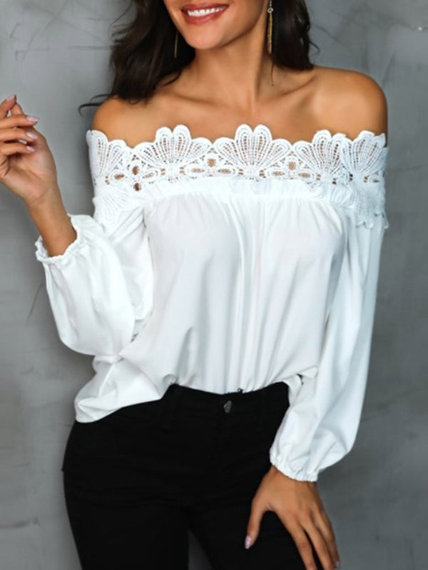 Off Shoulder Plain Lace Standard Long Sleeve Blouse