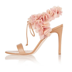 Stiletto Heel Lace-Up Open Toe Ankle Strap Banquet Plain Sandals